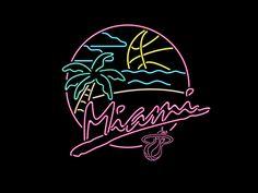 Miami Heat Beach Party designed by Tom Philibeck. Connect with them on Dribbble; Miami Heat Logo, Miami Party, Beach Logo, Beach Illustration, Retro Waves, Logo Design, Graphic Design, Retro Art, Neon Lighting
