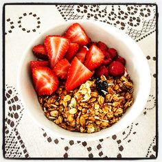 Healthy start for the day...  Honey Nut Granola w Dried Cherries & Pumpkin Seeds + Berries + Vanilla Yoghurt  #mealformeal #instafood #foodpic #foodphotography #granola #muesli #pumpkinseeds #vanillayoghurt #berries #honey #peanutbutter #strawberries #raspberry #healthyeating #healthystart #cleaneating #brekkie #breakfast