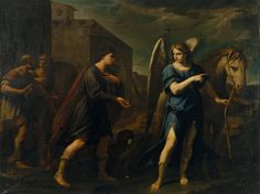 Tobias Meets the Archangel Raphael, by Andrea Vaccaro. Ca. 1640. Oil on canvas. On VintPrint.com. #religion #poster #art