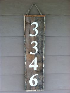 Address sign made from reclaimed pallet wood