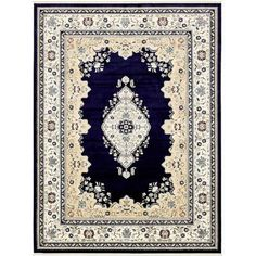 Charlton Home Courtright Navy Blue/Ivory Area Rug Rug Size: 8' x 10'