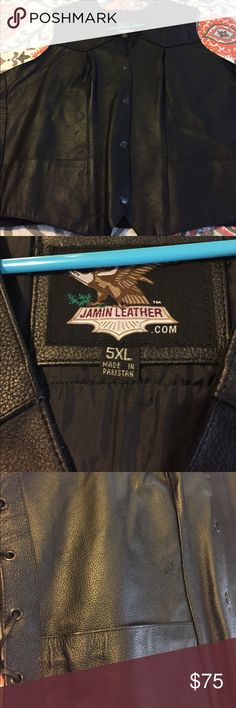 Leather Vest 5x /there are 2 Pockets Brand New! There were badges I took them off!! Jackets & Coats Vests