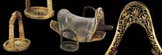 The saddle and stirrups attributed Genghis Khan, from the mausoleum erected in his honor in Ejan Horo, near Bautou, one of the major centers of Inner Mongolia.