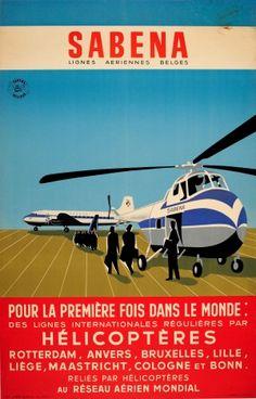 Original Vintage Posters -> Advertising Posters -> Sabena Helicopter International Flights - AntikBar