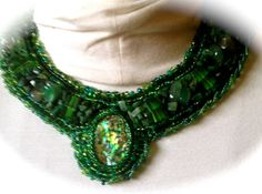 Bead Embroidered Collar  Green Paua Shell by bjswearableart, $210.00