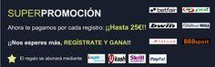 SUPERPROMOCIÓN  REGALAMOS HASTA 125€ TOTALMENTE GRATIS SI TE REGISTRAS EN LAS CASAS DE APUESTAS.  http://bit.ly/superpromocion25