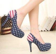 New Arrival #Flag Print #Round Toe #Platform High #Heel #Shoes