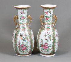 A pair of 19th Century Canton porcelain club shaped vases, est £200-300