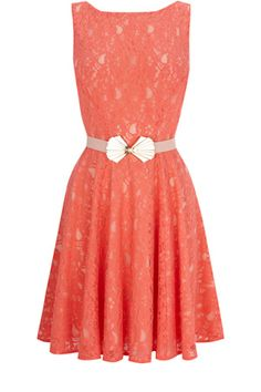 Lace fit and flare dress.