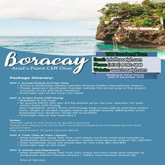 4 DAYS BORACAY CLIFF DIVING Minimum of 2 persons  For more inquiries please call: Landline: (+63 2) 8 282-6848 Mobile: (+63) 918-238-9506 or Email us: info@travelph.com #Boracay #Philippines #TravelPH #TravelWithNoWorries Boracay Philippines, Cliff Diving, Free Time, Tours, Day, Beach, Travel, Outdoor, Outdoors