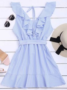 Ruffle Hem Striped Dress with Belt-Mini Dress-SheSimplyShops Day Dresses, Cute Dresses, Casual Dresses, Fashion Dresses, Dresses With Sleeves, Mini Dresses, Sleeve Dresses, Wedding Dresses, Prom Dresses