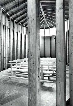 Saint Benedict's Chapel. 1988. Architects Peter Zumthor, Pavlo Kryvozub. Sumvitg, Graubünden, Switzerland