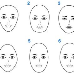 """From left to right: heart-shaped face, square face, round face, diamond face, long (or """"oblong"""") face, oval face"""