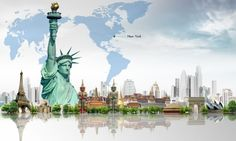 Famous landmark and world map 50095 - Urban Architecture photo - City building Liberty Wallpaper, Map Wallpaper, Travel Wallpaper, Iphone Wallpaper, Travel Maps, Travel And Tourism, Travel Info, Free Travel, Cheap Travel
