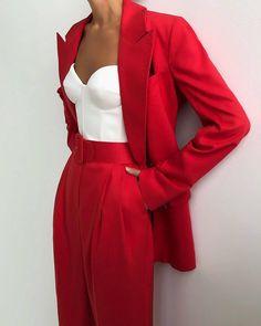Formal Suits For Women, Blazers For Women, Coats For Women, Clothes For Women, Red Pants Fashion, Fashion Outfits, Homecoming Suits, Homecoming Ideas, Fancy Suit