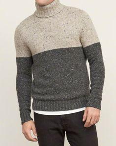 Mens Colorblock Turtleneck Sweater