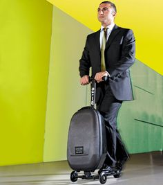 When you're trudging those long walks to and from the terminal gate, how often have you thought to yourself: 'there must be a better way'?  There is. Scooter Luggage: Ride your cabin baggage.