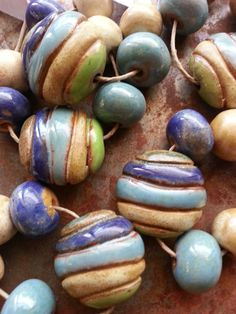 River Stone, striped ceramic bead set. Soon to be at Lima Beads - gaea.cc