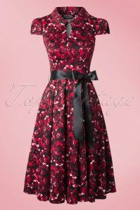 Hearts and Roses Black Red Roses Swing Dress 102 27 17106 20150923 0018W