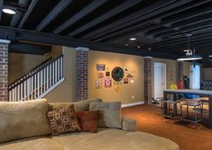 Tips for Painting an Exposed Basement Ceiling Unfinished basement ideas Basement laundry room ideas Basement ceiling ideas Painting basement ceiling Unfinished basement laundry room Diy basement ideas Basement Makeover, House Design, Small Basements, House, Basement Ceiling, Home, Basement Decor, Home Remodeling, Remodel Bedroom