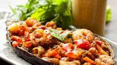 the spicy, Thai-inspired flavor of the shrimp, paired with the rich smokiness of roasted eggplant, makes the meal taste as good as it looks.