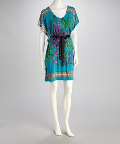 Take a look at this Turquoise Belted Cape-Sleeve Dress by India Boutique on #zulily today!