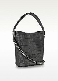 Regina Medium Black Croco Embossed Leather Shoulder Bag - Roberto Cavalli 9e9a470dc17