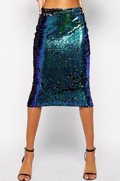 Green Sequins Midi Skirt GREEN: Skirts | ZAFUL