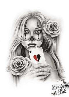 HeartBreaker Chicano Tattoo Clown Girl Playing Card Rose Heart Art Print Glossy…