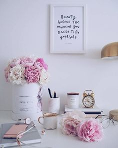 """How are you today? """"Beauty begins the moment you decide to be yourself!"""" - Coco Chanel Have a lovely Wednesday my… Work Desk Decor, Office Space Decor, Home Office Organization, Home Office Design, Feminine Office, Feminine Home Offices, Pink Office, Room Interior, Interior Design Living Room"""
