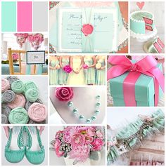 Pink and Mint Summer Wedding Color Palette Unique Wedding Colors, Summer Wedding Colors, Unique Weddings, Pink Weddings, Spring Wedding, Mint Color Palettes, Pink Palette, Our Wedding, Dream Wedding