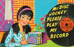 - Postcard from the1960s - - #music #kitsch #records #vinyl   http://www.pinterest.com/TheHitman14/musical-kitsch-%2B/