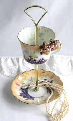 Unique 2 tier jewelry / mini cake stand: early Queens china upcycled to create a very special stand for weddings, showers or a great gift