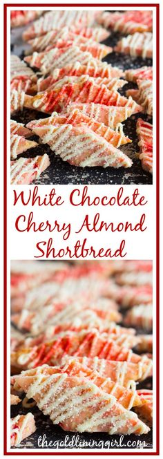 Buttery, crumbly shortbread cookies with white chocolate, almond, and maraschino cherries! Almond Shortbread Cookie Recipe, Buttery Shortbread Cookies, Shortbread Recipes, Mini Desserts, Christmas Desserts, Christmas Cookies, Christmas Treats, Best Dessert Recipes, Holiday Recipes