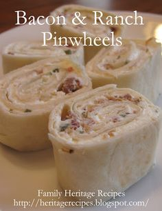 Family Heritage Recipes: Bacon and Ranch Pinwheels