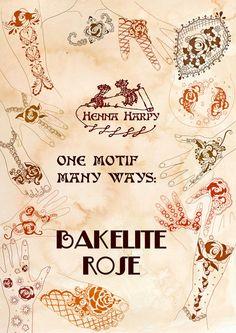 Henna Design Ebook PDF - One Motif Many Ways: Bakelite Rose by Henna Harpy $5 instant download - printable pdf