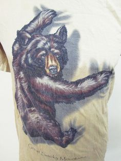 Retro American Pop Culture Tees: Animal Print Bear Hug T-Shirt Small