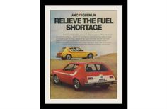 """1974 AMC Gremlin Car Ad """"Fuel Shortage"""""""