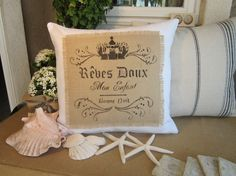 20x20 French Pillow cover  Crisp white fabric with by HauteShoppe, $29.00