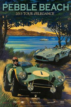 The 2013 Pebble Beach Tour poster features a 1953 Aston Martin DB3S/1 and the Aston Martin CC100 Speedster Concept. (Poster Art by Barry Rowe)