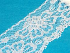 Large Floral Scalloped White Flat Lace Trim  72mm by debbisvintage
