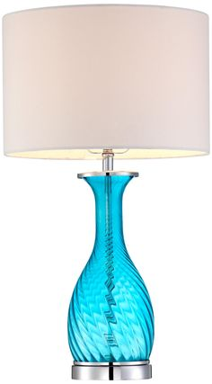 Blue Swirl Glass Table Lamp | LampsPlus.com
