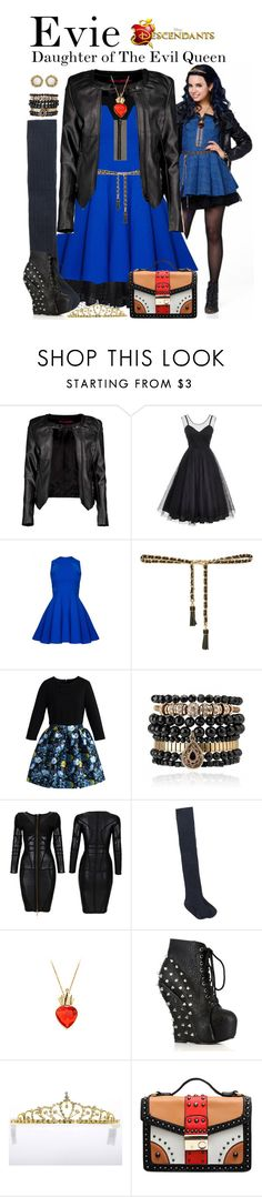 """Evie, Descendants"" by supercalifragilistica ❤ liked on Polyvore featuring Disney, Boohoo, Unique Vintage, Miu Miu, Zara, Chicwish, Samantha Wills, MANGO, Bettie Page and Kendra Scott"