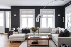 Grey living room. I love this couch and wall color!