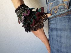 Beaded freeform crochet bracelet with brown, maroon, forest green, purple and gray beaded crochet flowers and black lace by irregular expressions | Flickr - Photo Sharing!
