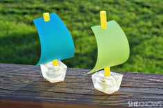 Ice cube sailboats