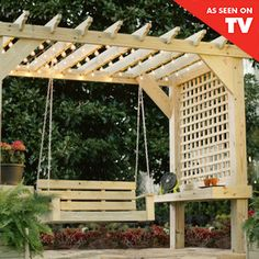 built in shelves and modern lattice for shade on sides.  It's easy to build, and you can make it your own by cutting decorative patterns in the rafter tails.