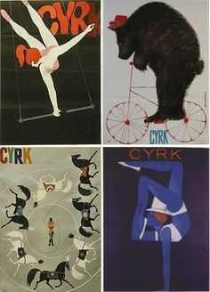 Vintage Circus posters - I have a CYRK poster in my den....love them. These would be a nice addition to make a full wall.