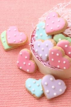 Pastel heart cut-out cookies