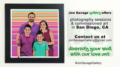 """We offer photography sessions & commissioned art (Portrait commissions) in San Diego, CA. """"Diversify your wall with our love art"""" -------------------------- #art #artist #popart #popartist #digitalart #contemporary #contemporaryart #photographer #portrait #commission #commissionart #holidaygifts #video #holidaygiftideas #family #california #jonsavagegallery"""